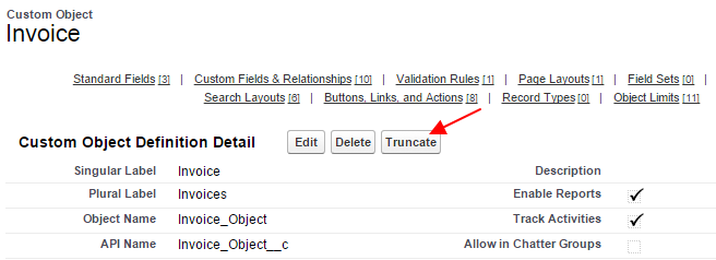 if you do not see truncate button in the custom object check setup customize user interface enable custom object truncate