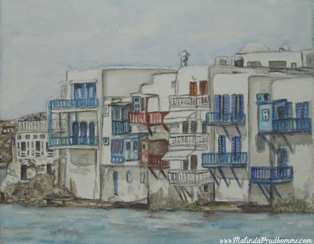 travel artist, mixed media artist, watercolour paintings, travel art, charcoal artist, mixed media art, original paintings, mykonos, little venice, greek islands, greece