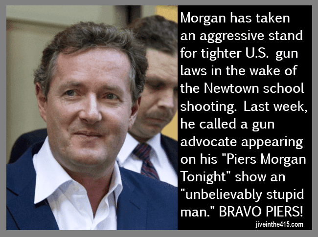 A photo of Piers Morgan who has enraged gun advocates by calling them stupid