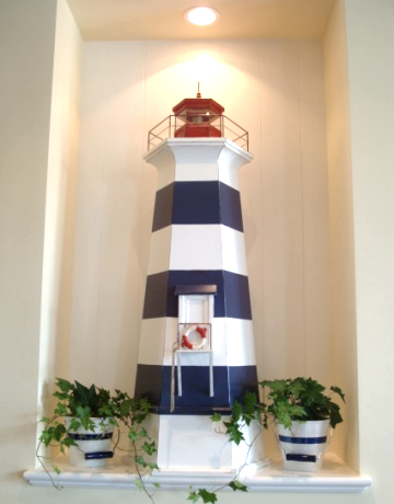 red white blue lighthouse decor