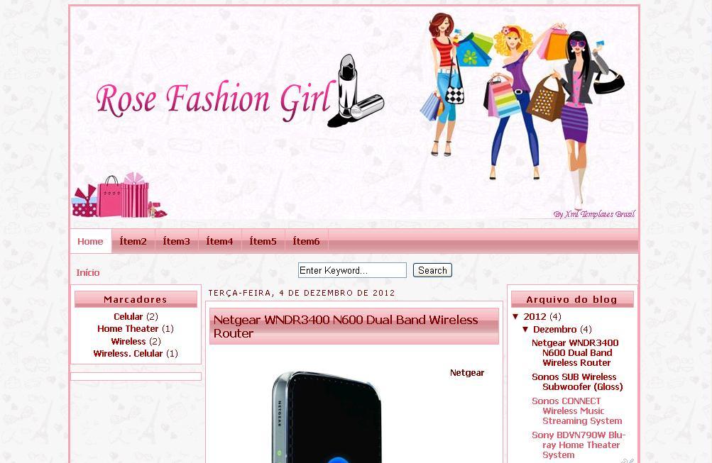 Preferência Template Feminino Grátis Rose Fashion Girl - Xml Templates Brasil OM94