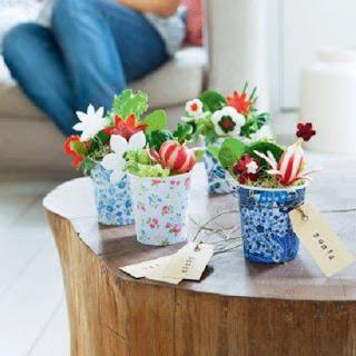 Ideas para Presentar las Ensaladas en la Mesa, Macetas con Flores de Vegetales