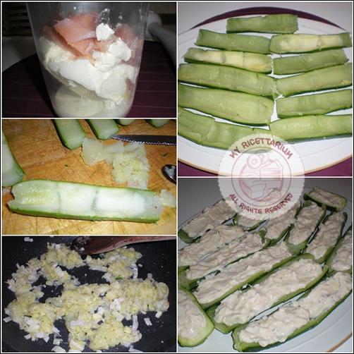 Zucchine a barchetta ripiene di crema al salmone e aneto
