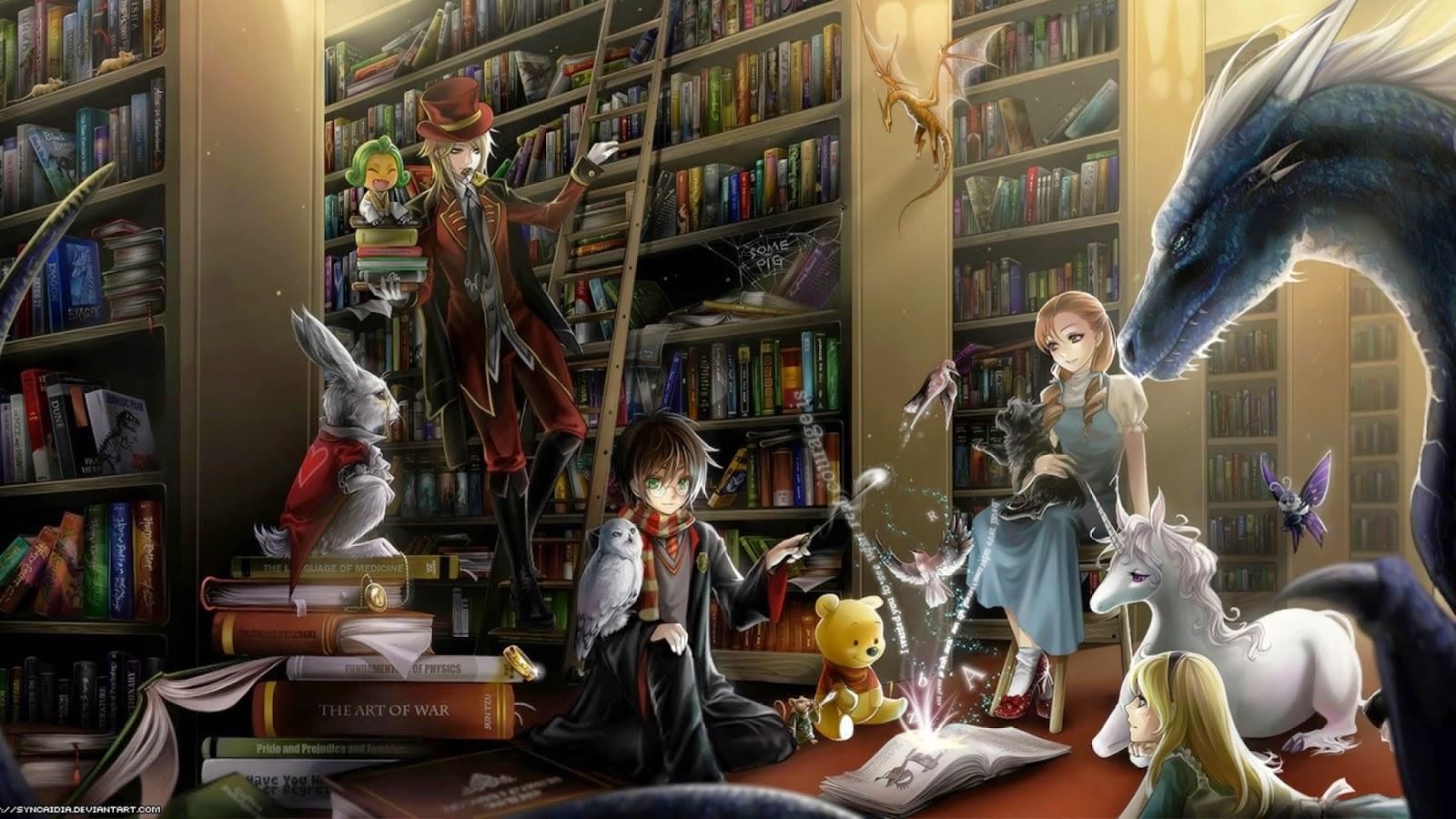Il Rifugio degli Elfi: Per Autori ed Editori Fantasy Library Wallpaper