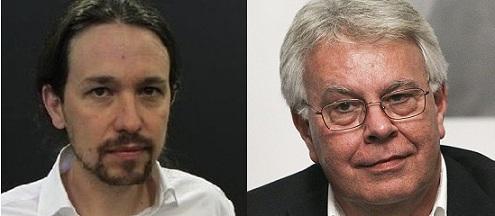 Pablo Iglesias y Felipe González