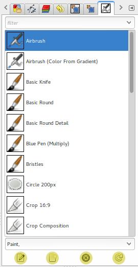 Definições de ferramentas, a lista.