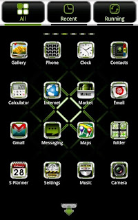 Screenshots of the GWhite Go Launcher EX theme for Android mobile, tablet, and Smartphone.