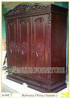 Lemari Pakaian Ukiran Rahwana 3 Pintu ( Serebet )
