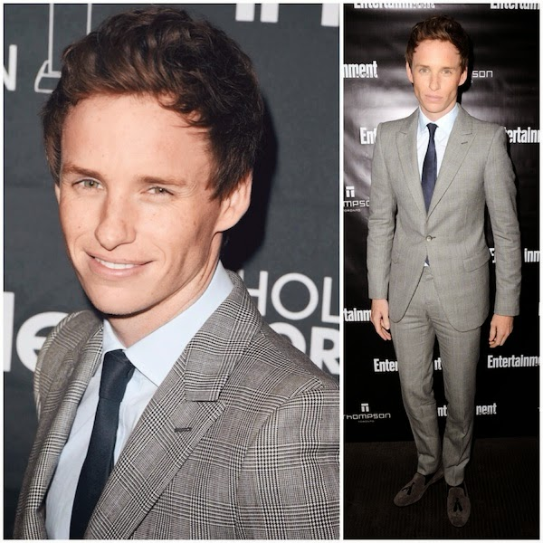 Eddie Redmayne wears Alexander McQueen check suit at 2014 Toronto International Film Festival