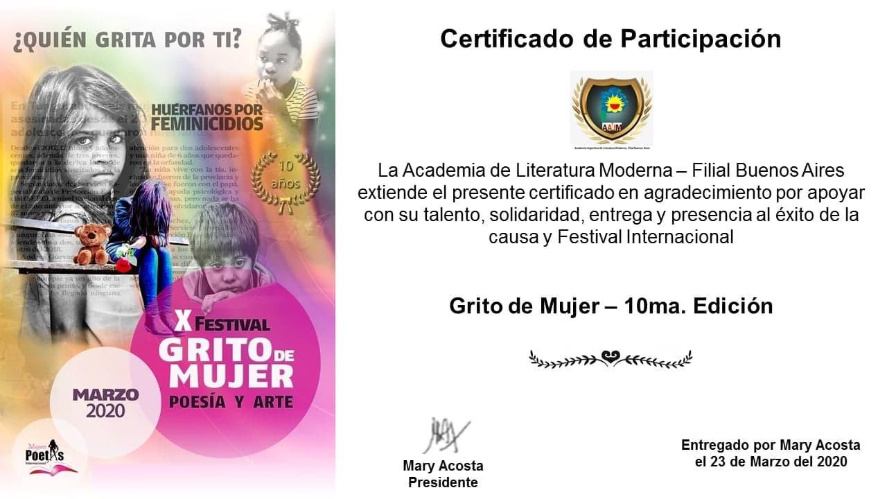Mirta Praino recibe Certificado en el marco de la 10° Edición del Festival Grito de Mujer