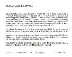 Comunicado de Junta Electoral SUTEBA AVELLANEDA