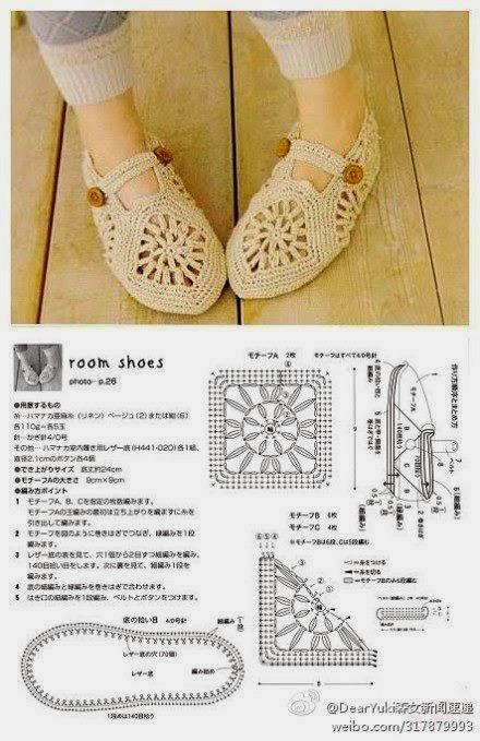Zapatos tejidos al crochet con grannys - con esquema | Crochet y Dos ...