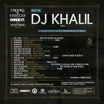 crooks and castles presents best of dj khalil grammy edition back cover and playlist