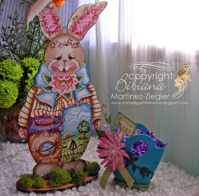 painted bella bunny in wood with felt basket front