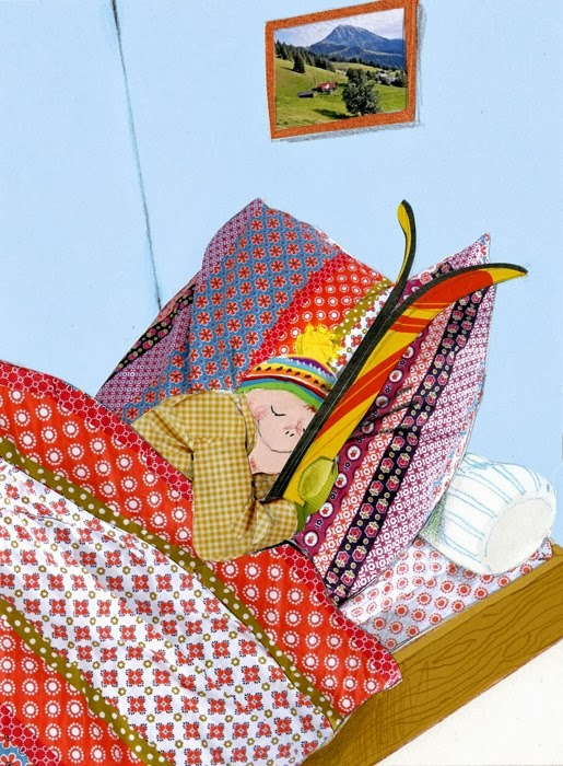 little boy dreaming in bed of ski illustration by Robert Wagt