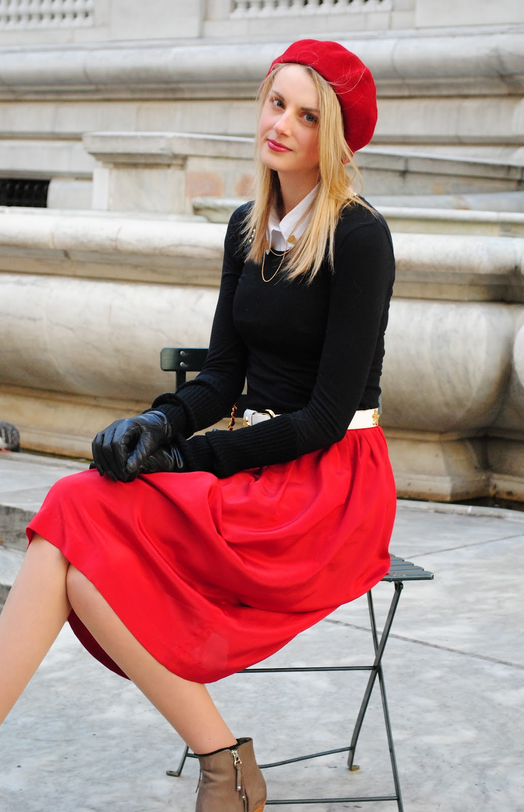 red silk skirt