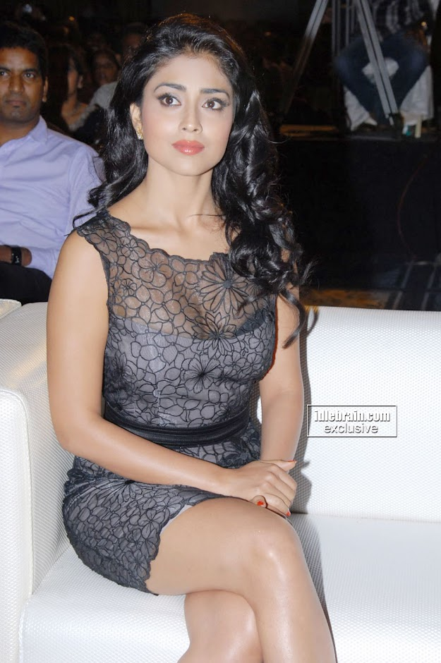 Shriya Saran Sitting Cross Legged at event in short dress -  Shriya Saran Hot in Black Dress at event
