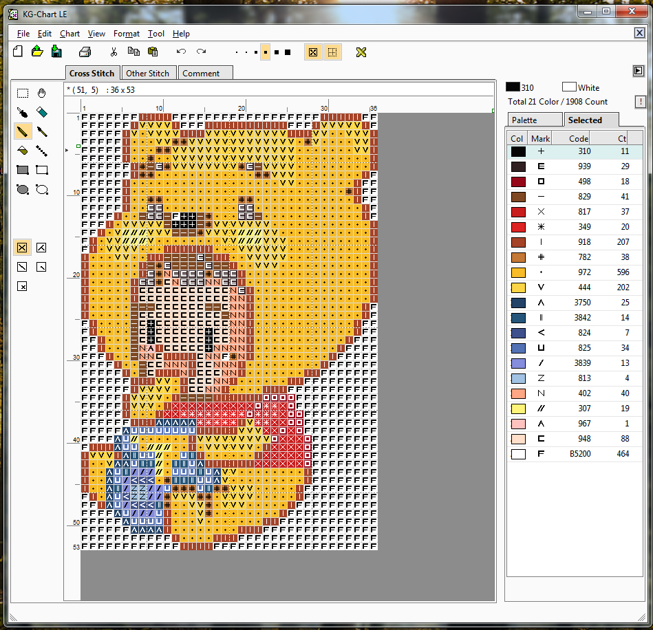 I am luna sol how to make cross stitch patterns from pixel sprites the program uses a symbol key to help tell your colors apart from one another you can turn on or off by clicking the show mark geenschuldenfo Images