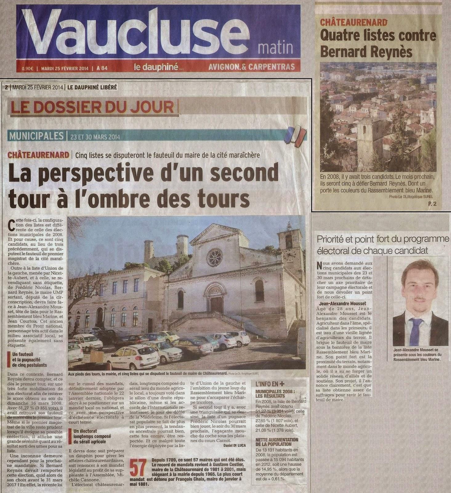 ch teaurenard bleu marine article du journal vaucluse matin le dauphin lib r du 25. Black Bedroom Furniture Sets. Home Design Ideas