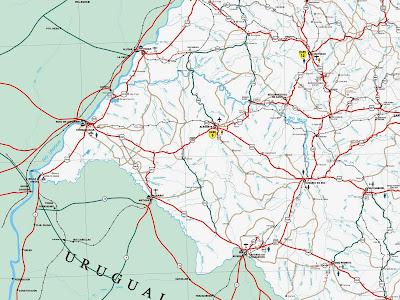 Mapa rodoviário da região de Uruguaiana – RS