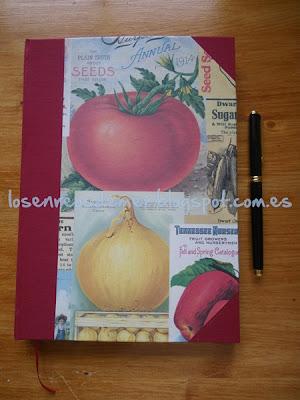 Libro de recetas de cocina decorado con cartonaje