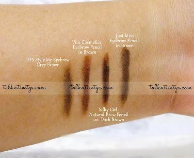 Perbandingan Just Miss Eyebrow Pencil dengan beberapa produk pensil alis dari brand lain.