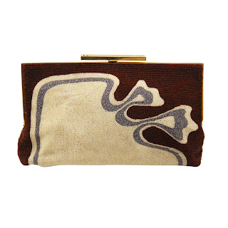 Vintage 1960's brown and cream swirl Pierre Cardin beaded clutch bag