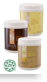 Cinch™ Shake Mix   Campuran Proprietari Protein dengan Leusina •    Bebas Laktos •    Rendah glisemik •    Soya Bukan-GMO   Cinch™ Shakes sangat enak dan merupakan cara yang berkhasiat untuk membantu dalam mengekalkan otot perlu dan memberikan anda rasa puas semasa menurunkan berat badan.  •    Diperkaya dengan Leucine™ bagi mengekalkan otot semasa       anda menurunkan berat badan •    Kaya dengan protein bagi membantu anda rasa kenyang        dan puas •    Tinggi serat dengan enam gram bagi setiap hidangan  * Produk ini tidak bertujuan untuk mendiagnos, merawat, menyembuh atau mencegah sebarang penyakit.   Kod Produk: - 20339   (Cafe Latte) - 20340    (Vanilla) - 20341    (Chocolate)