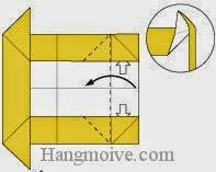 Bước 6: Từ vị trí mũi tên mở hai lớp giấy ra, kéo và gấp cạnh giấy về phía bên trái.