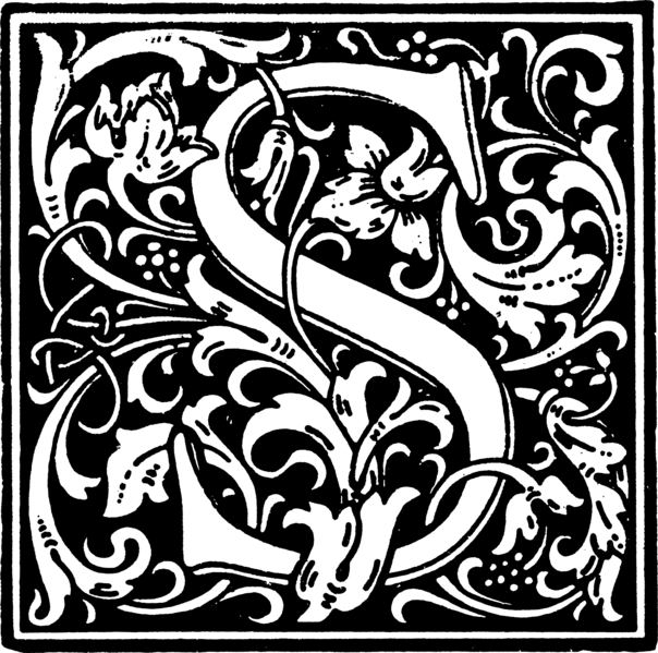 The gallery for illuminated letters s for Illuminated alphabet coloring pages