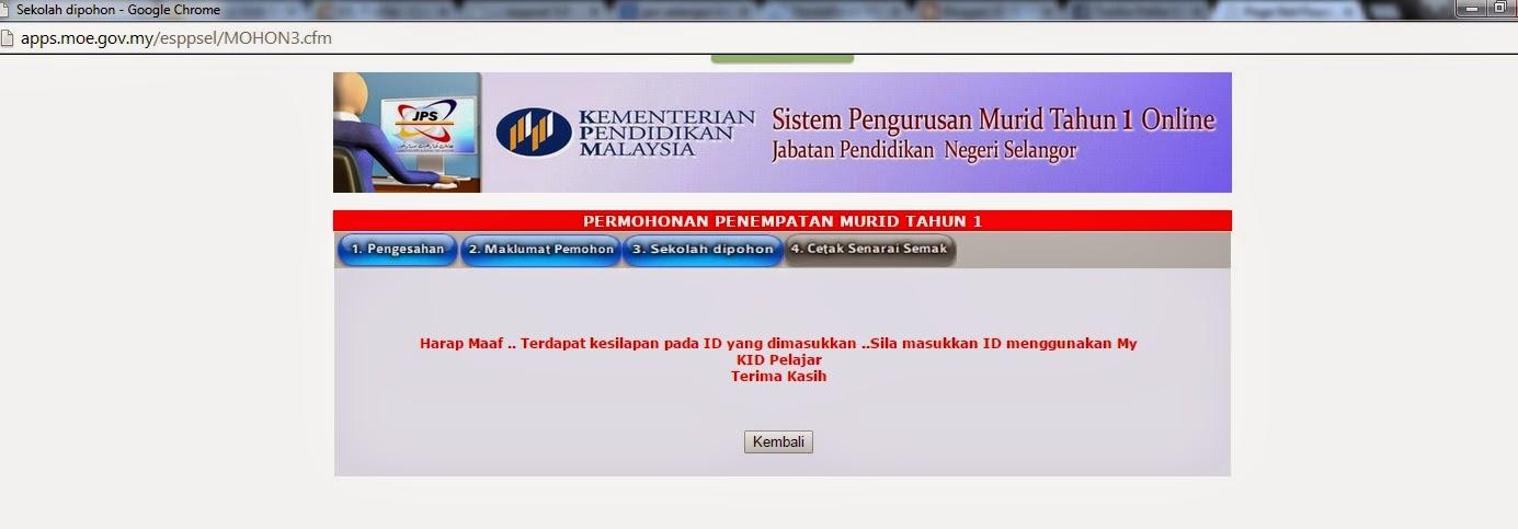Sistem Pengurusan Murid Tahun 1 Online Jabatan Pendidikan Negeri Selangor