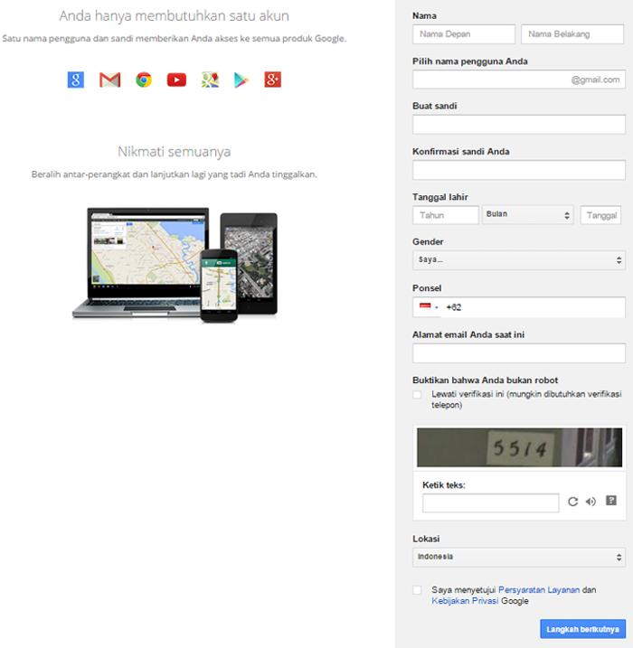 mendaftar gmail
