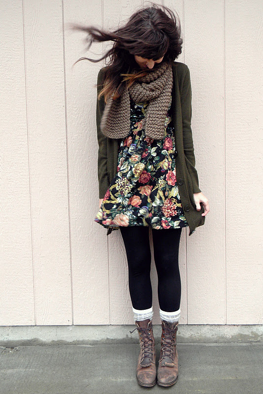 Flowry dress fashion with tights and boots