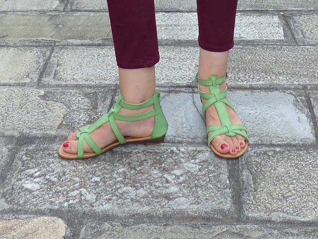 Green gladiators flats
