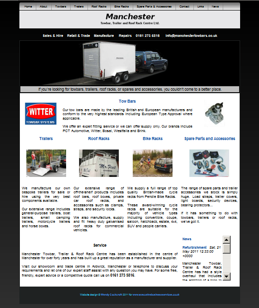 Manchester Towbars prospective website design screenshot