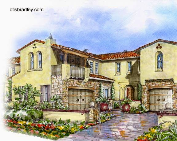 Dibujo a color de una casa estilo hispano en Norteamérica