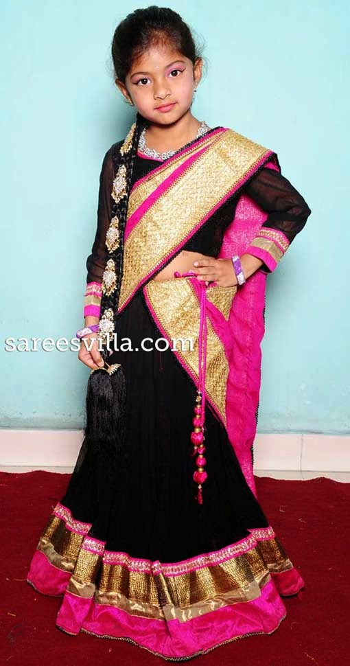 Kids designer half saree