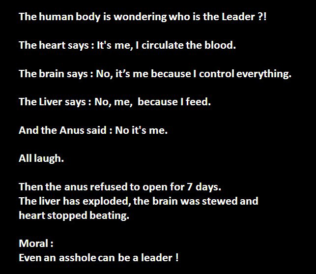The Leader Of Human Body - Heart, Brain Liver Or Anus - Funny Story