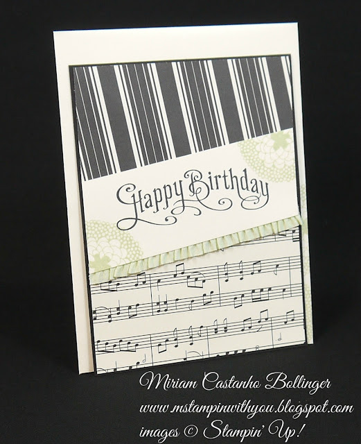 Miriam Castanho Bollinger, #mstampinwithyou, stampin up, demonstrator, sssc, birthday card, modern medley dsp, perfectly penned, su