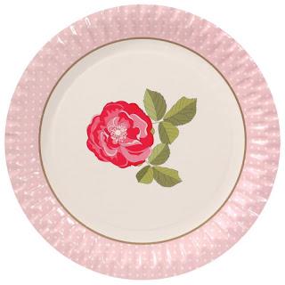 piatto decorato con rosa