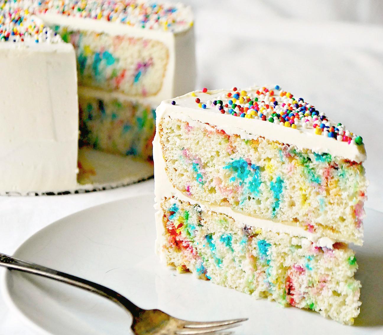 Slice of vanilla birthday cake