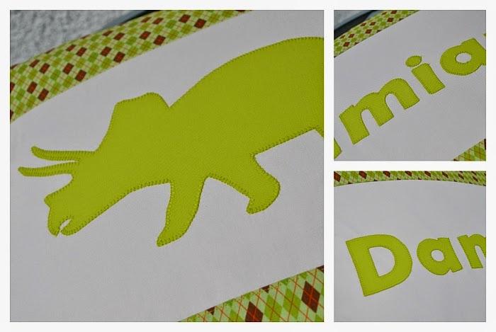 Подушка с аппликацией, салатовая подушка для мальчика, подушка с динозаврами, подушка с именем, автор Ольга Граф
