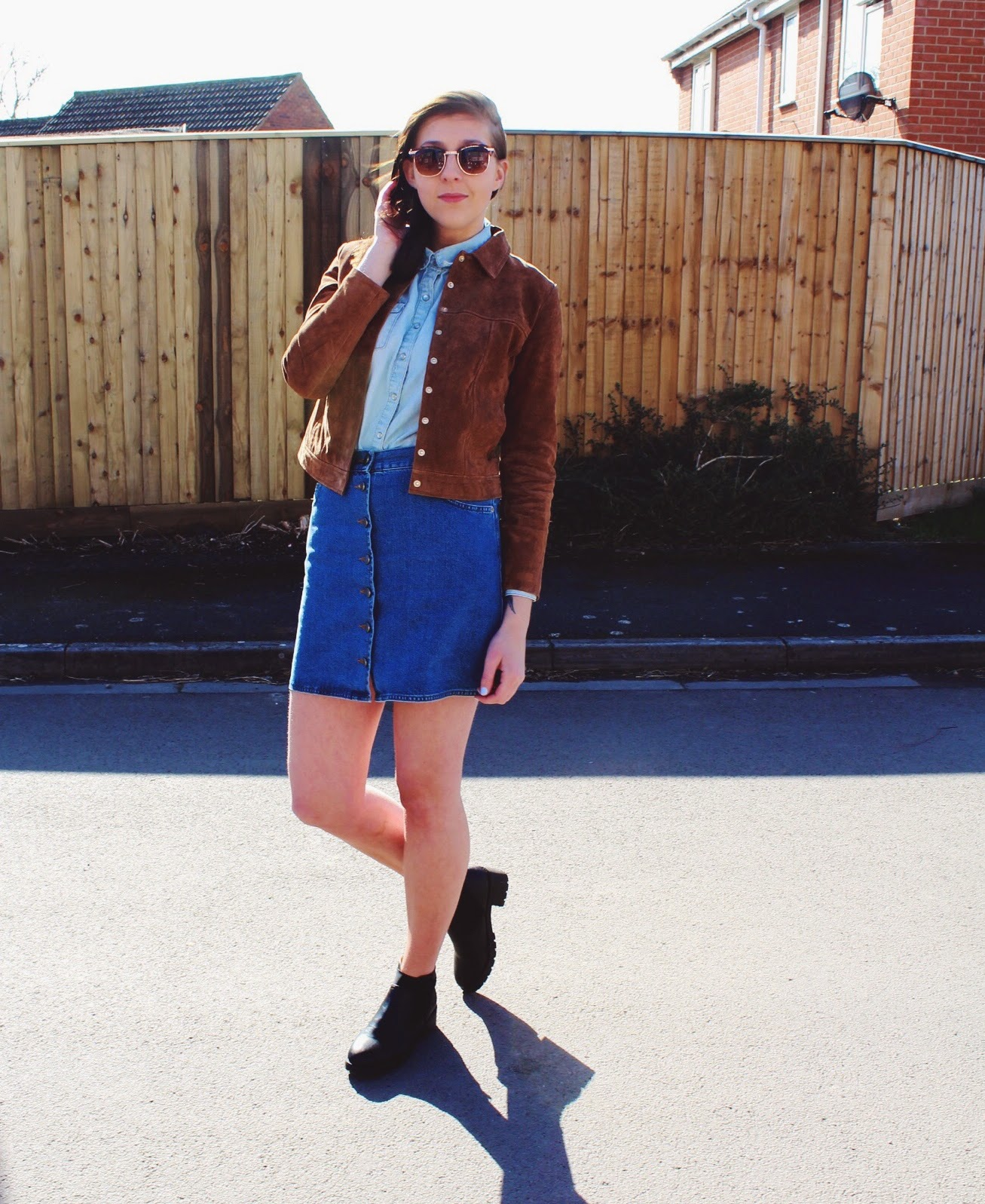 fashion, fashionbloggers, asseenonme, wiw, mango, asos, asda, denim, suede, 70strend, halcyonvelvet, fbloggers, fblogger, ootd, outfitoftheday, lotd, lookoftheday, doubledenim, whatimwearing, suedejacket, buttonthroughdenimskirt