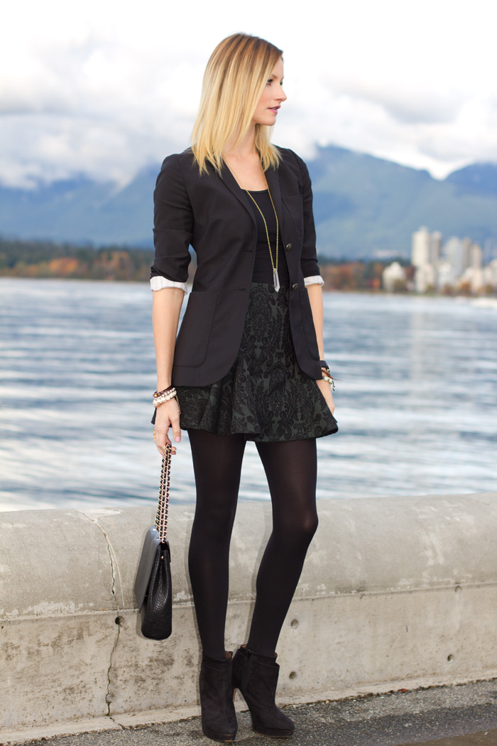 Vancouver Fashion Blogger, Alison Hutchinson, Wearing Aritzia boyfriend blazer, American Apparel Dress worn as top, Zara baroqu print skirt in hunter green, Zara black booties, Zara black bag, True worth design crystal pendant necklace and bracelets, Givenchy bracelet