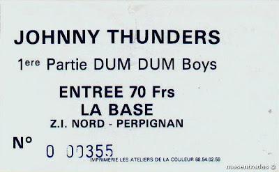 entrada de concierto de johnny thunders