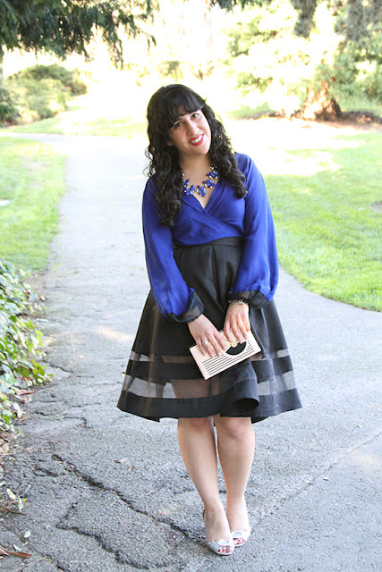 Royal Blue Wrap Top and Express Skirt with Sheer Panels
