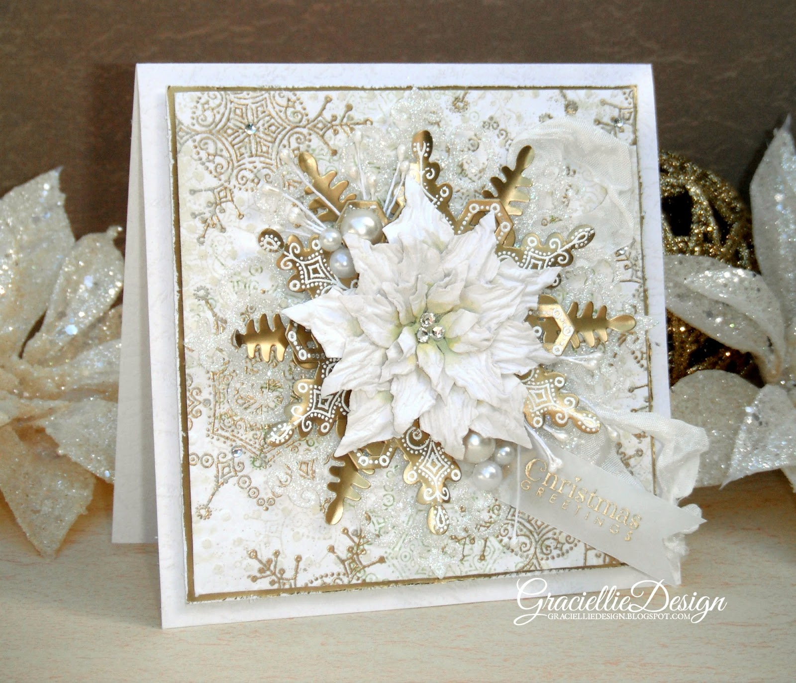 dreaming of a white christmas gilded elegant christmas card