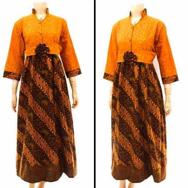 Busana Muslim Dress Gamis Motif Batik Sogan SOLO