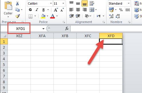 la colonne dernière Excel