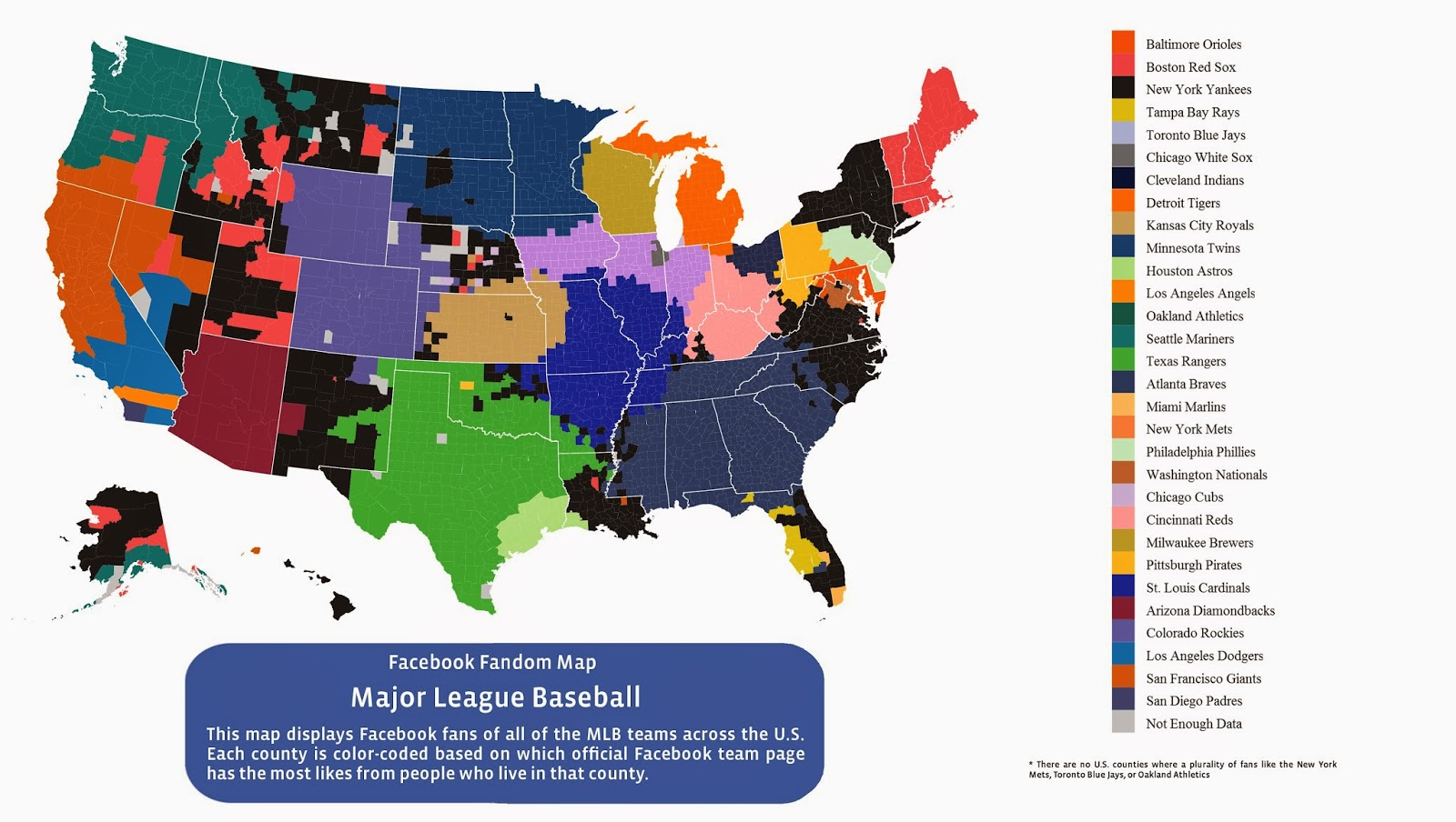 this map shows the most popular baseball team in each u s county as determined by facebook likes this is incredibly fascinating for baseball fans who are